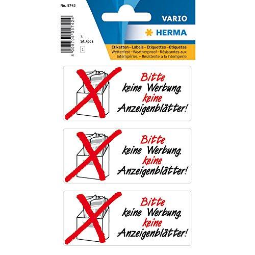 Herma 10 x Hinweisetiketten 'Keine Werbung Anzeigenblätter' wetterfest VE=1 Blatt