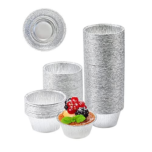 Aluminum Foil Baking Cups, Disposable Ramekin 4 Oz Aluminum Cupcake liners, 150 Pcs Silver Foil Baking Cups Muffin Liners for Baking, Cupcake, Pudding, Egg Tart, Creme Brulee