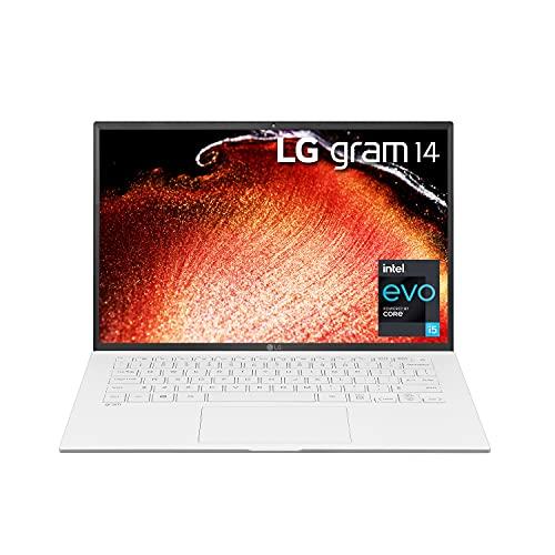 "LG Gram 14Z90P - 14"" WUXGA (1920x1200) Ultra-Lightweight Laptop, Intel evo with 11th gen Core i5 1135G7 CPU , 8GB RAM, 256GB SSD, Alexa Built-in, 25.5 Hours Battery, Thunderbolt 4, White - 2021"