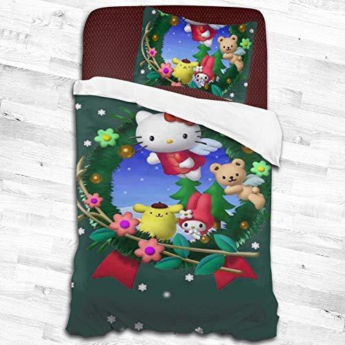 ESCFLAG Hello Kitty - Juego de cama de dos piezas de microfibra suave y cómoda, una funda de edredón + una funda de almohada (dos tamaños) 134,6 x 200,7 cm