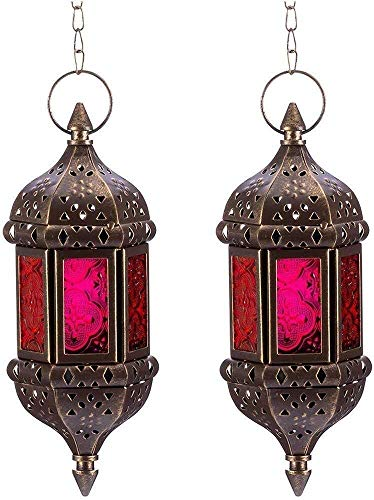 Morocco Vintage Candlestick Two Lanterns Hanging Candle Chandelier Morocco Retro Hollow Metal Candlestick Wedding Hanging Lantern With 13.8 Inches Chain (Color : White)