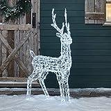 Lights4fun Ciervo de Navidad Acrílico de 120 cm de Altura con 240 LED Blancos para...