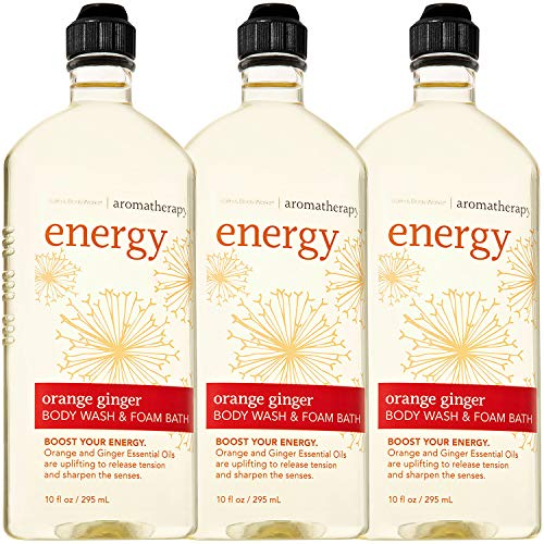 Bath & Body Works Aromatherapy Energy - Orange + Ginger Body Wash & Foam Bath, 10 Fl Oz, 3-Pack