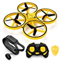 INKPOT JJRC JJPRO RC Watch Control Drone Aircraft Quadcopter Gravity Sensor with 2 Batteries 3 Controllers Altitude Hold Headless Mode (Yellow)