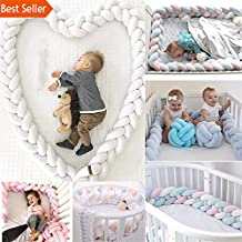 1/2M Length Baby Bed Bumper 2/3 Braids | Baby Bed Decor Pure Weaving Plush | Knot Crib Bumper Protector Infant Room Decor (White+Grey+Purple, 1M)