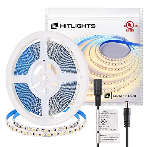 HitLights LED Strip Lights, UL-Listed Premium High Density 2835-16.4 Feet, 600 LEDs, 2700K, 44W, CRI 90+, 12V DC LED Tape Lights for Under Cabinet, Kitchen, Lighting Project(Soft White)