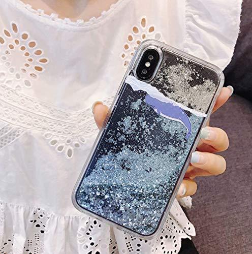 Funda de Agua líquida para iPhone 12 Mini 11 Pro XS MAX XR XS 7 8 6 6s Plus Funda Blanda con Purpurina Floral y Arenas movedizas de pez Ballena, LAN Hai tun, para iPhone 6 6s