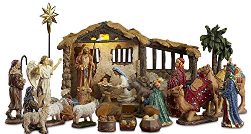 23 Pieces Christmas illuminated Nativity Set with LED Light Stable