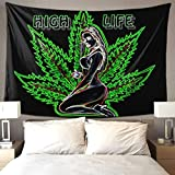 QSMX Beauty 3D Tapestry Wall Hanging, Psychedelic Marijuana Leaf Weed Style Beach Throw for Men & Women, Window Curtain Picnic Mat, Beach Blanket, for Indoor or Outdoor - All Season Use, 60x40 Inches