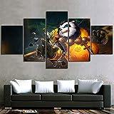 AWEIE 5 Piezas Mundo de Pinturas del Juego Warcraft Pandaren vídeo HD Cartel de Cuadros Decorativos for la Sala de Estar decoración de la Pared (Color : No Framed, Size (Inch) : Size 2)