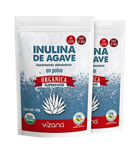 Inulina de Agave Orgánica Certificada USDA - SAGARPA en Polvo 300g por pack Vizana Nutrition (Pack - 2 bolsas 150g c/u)