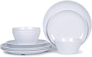Melmac Dishes Dinnerware Set - 12pcs Plates and Bowls Set for 4, Indoor and Outdoor Use, Dishwasher Safe, White