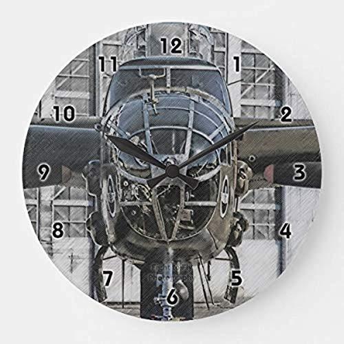 Mari57llis B-25 Mitchell - Reloj de pared redondo de madera de 15 cm, diseño rústico