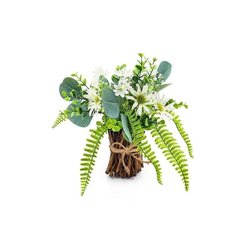 silk flower arrangements artificial flower arrangement fake plastic plant bouquet mini bunch bundle with bamboo wood stems (rosemary, eucalyptus, boston fern daisies) greenery decoration for wedding centerpiece, spring party