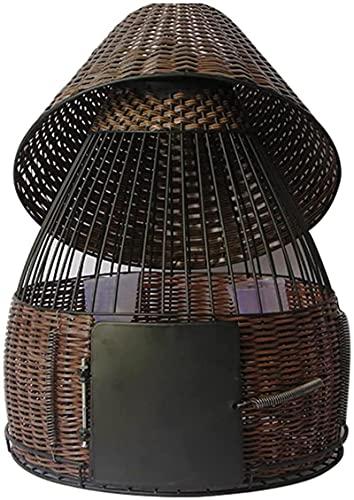 Bambú ratán pájaro Jaula Hecha a Mano Acero Inoxidable Tostado Laca Negro Jaula de pájaro Perdiz de Metal bambú Tejido bambú Pollo Jaula Jaula de pájaros