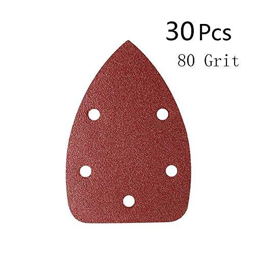 KingBra 80 Grit Mouse Detail Sander Sandpaper 5 Holes Sander Pads Hook and Loop Sanding Sheets, Pack of 30