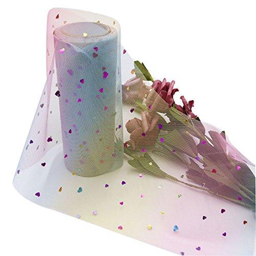 Sternen Herz Tüll Rolle 15cm x 10 yds DIY Headwear Handwerk Geschenk Wrap Tutu Rock für Hochzeit Geburtstag Party festliche (Herzförmige Pailletten)