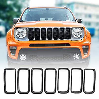 JeCar Grille Inserts ABS Grill Cover Trim Kit Exterior Accessories for 2019 2020 Jeep Renegade BU, Carbon Fiber Texture