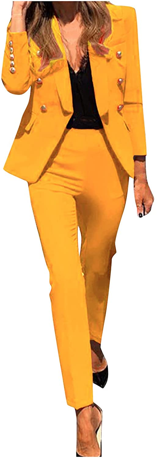 Women's Long Open Front Sleeve Solid Casual Elegant Business Blazer Pant Suit Sets for Work