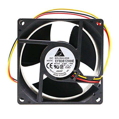 N / A Cooling Fan For Delta EFB0812HHE,DC12V 0.62A 3-Wire 80x80x38mm Server Square Fan