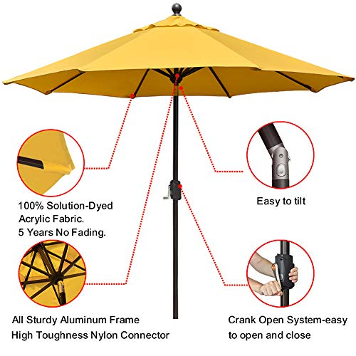 EliteShade Sunbrella 9Ft Market Umbrella Patio Outdoor Table Umbrella with Ventilation and 5 Years Non-Fading Top,Yellow