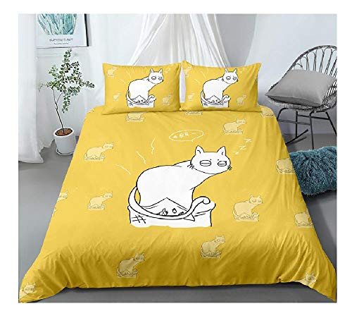 BAIYANG 2/3 Pieces White Cats Bedding Set Cartoon Duvet Cover For Kids Adult Gift Bed Cover Set Home Textile Warm Cover Set Single(135x200cm)