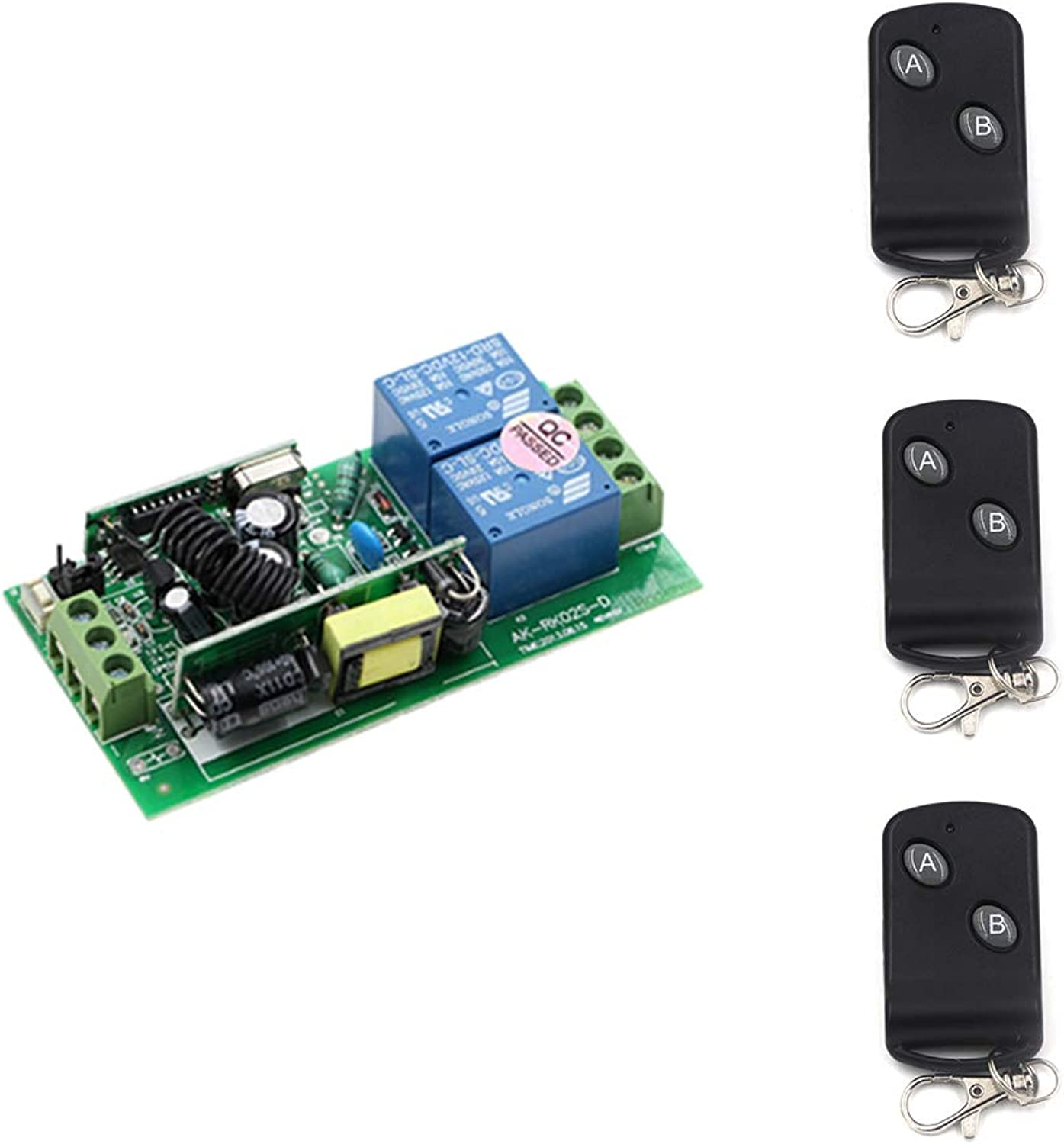 Wide Voltage 2CH Relay Switch AC85V 250V RF Wireless Remote Control 3Transmitters+ Receiver Switch for Lamp Light