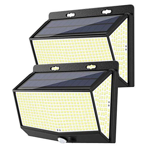 468 LED Solar Lights Outdoor 2 Pack Solar Motion Sensor Lights with 3 Lighting Modes, 270° Wide-Angle, IP65 Waterproof, Solar Powered Security Lights for Outside Wall, Fence, Patio, Yard, Garden
