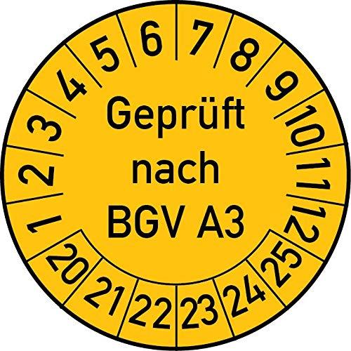 Geprüft nach BGV A3 Prüfplakette, 500 Stück, in verschiedenen Farben und Größen, Prüfetikett Prüfsiegel Plakette (35 mm Ø, Gelb)