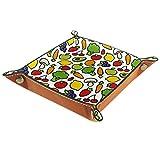 AITAI Bandeja de valet de cuero vegano organizador de mesita de noche plato de almacenamiento Catchall colorido patrón de frutas y verduras
