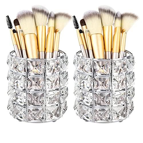 2 Piezas Cristal Titular de Cepillo de Maquillaje, Alldo Fashion Makeup Brush Pot Organizador de cosméticos, portalápices, Almacenamiento para tocador, baño