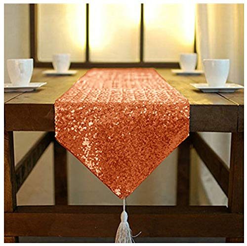 ShinyBeauty 12x120-Inch-Orange-Sequin Table Runner with Tassel Wedding Table Runner Line Banquet Table Runner Sparkle Table Runners for Wedding Birthday Party Christmas Decor(12x120, Orange)