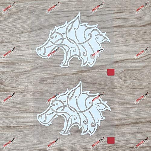 Viking Wolf Head Norse Vinyl Decal Sticker - 2X White 4 Inches for Car Laptop Window