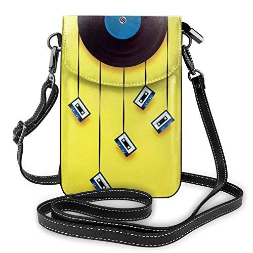Bolso ligero del teléfono celular de la PU, discos y cintas de vinilo pequeños Crossbody Bolsos de hombro cartera Pounch bolso para las mujeres