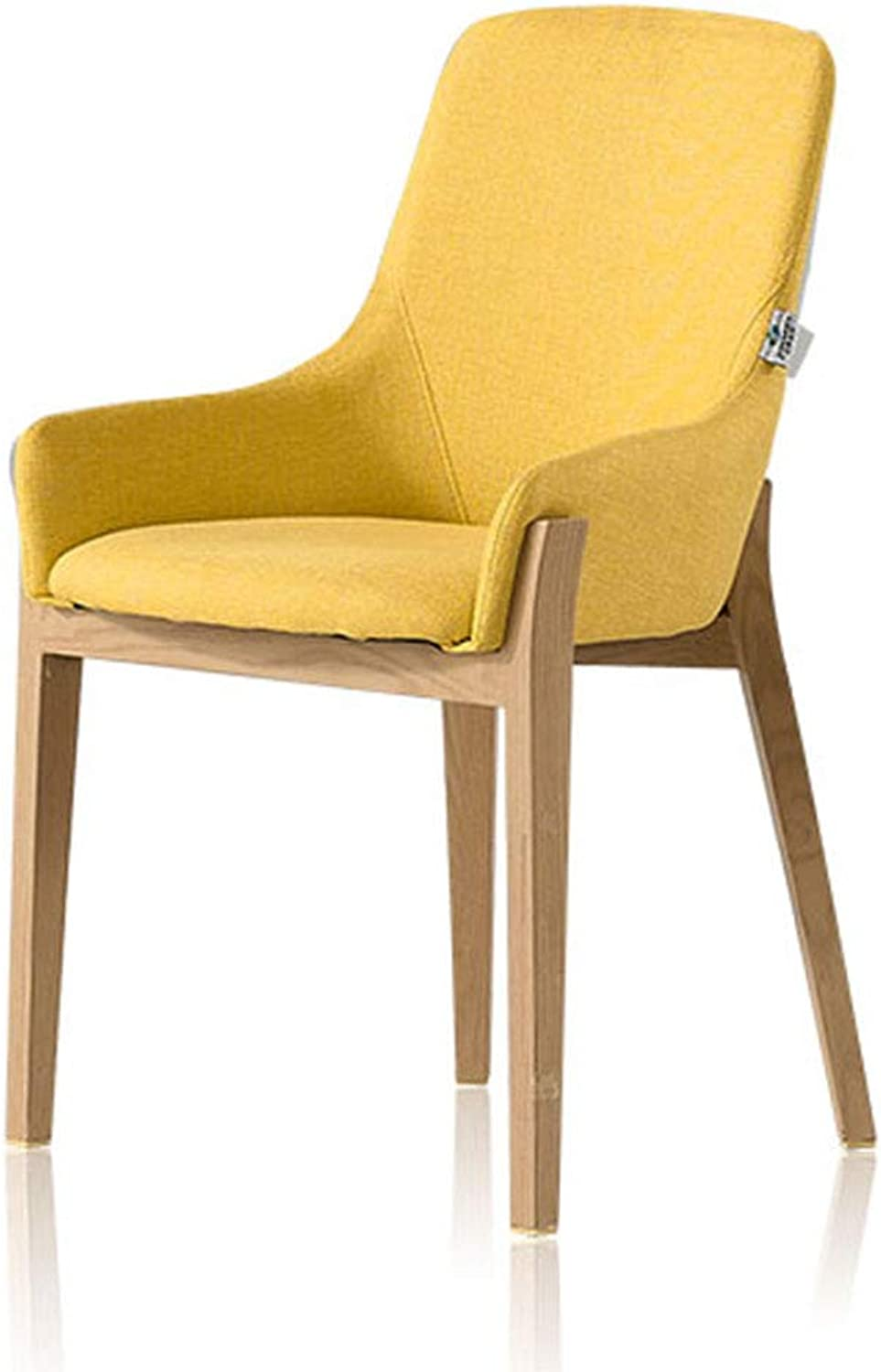 Chairs Dining Chair Solid Wood Chair Dining Room Kitchen Chair backrest Chair (color   Yellow, Size   52  52  81cm)