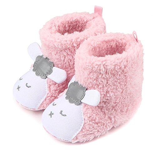 ZUMUii Butterme Neugeborenes Jungen Mädchen Korallen Vlies Tier Schaf Prewalker Schuhe Winter warme Baby Aufladungs Krippe Schuhe Weiche untere Baby Schuhe ()