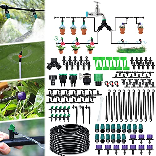 Jeteven 30M 164pcs Bewässerungssystem Garten,Mikro Drip Bewässerungssets,Rasen Bewässerungssystem Set,Bewässerungssystem Topfpflanzen,Automatische Bewässerung Tröpfchenbewässerung für Gewächshaus