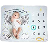 Qoochulu Christian Angel Wings Baby, Unisex, Monthly Milestone Blanket for Baby Shower, Extra Soft Plush Fleece Milestone Blanket Photo Prop, Growth Chart, Swaddle, Markers Included 51' x 40'