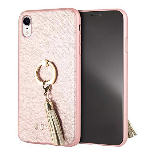 GUESS Ring Stand para iPhone XR Protector con Soporte de Anillo Resistente a Impactos Color Oro Rosa