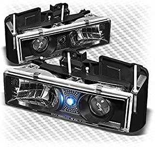 Xtune 1988-1998 Chevy/GMC C/K Series, Suburban, 1995-1999 Tahoe Black Projector Headlights L+R Pair 1989 1990 1991 1992 1993