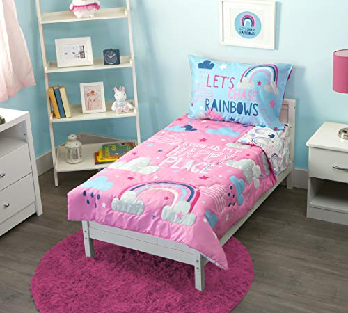Funhouse 4 Piece Toddler Bedding Set - Includes Quilted Comforter, Fitted Sheet, Top Sheet, and Pillow Case - Full Rainbow Design for Girls Bed