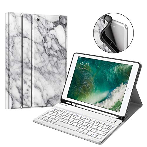 Fintie Keyboard Case for iPad 9.7 2018 with Built-in Pencil Holder, [SlimShell] Soft TPU Back Protective Cover w/Magnetically Detachable Wireless Bluetooth Keyboard for iPad 6th Gen, Marble White