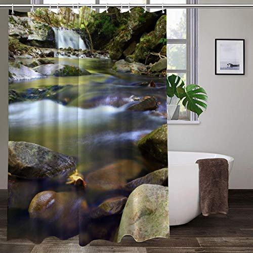 XCBN Le Rideau de Douche Qui voit la Cascade dans la forêt Depuis la fenêtre Rideau de Salle de Bain Paysage décoratif A3 150x200cm