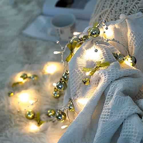 Adaskala Cadena de Luces LED navideñas Funciona con Pilas 6.6 pies 20 LED Luz Blanca cálida Árbol de Navidad Luces Decorativas para Sala de Estar Dormitorio Fiestas Boda
