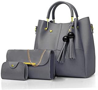 Envias Leatherette Handbags For Women's Ladies Combo Of 3 (PlusCombo_Grey_EVS-108)