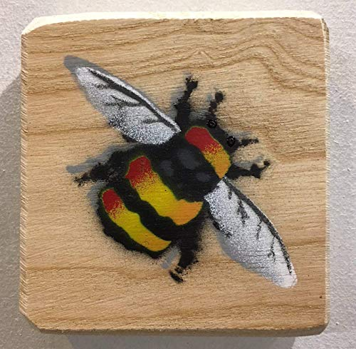 Bumble Bee Art Spray Painted Picture | Handmade gift in the UK | Manchester Bee | Anniversary Gift | Wedding | for Him or Her | Wife | Dad | Birthday Present - Painted Artwork size 10 x 11cm