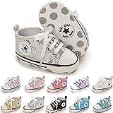 BiBeGoi Baskets en toile à semelle souple pour bébé fille et garçon - Noir - Paillettes argentées., 6-12 mois