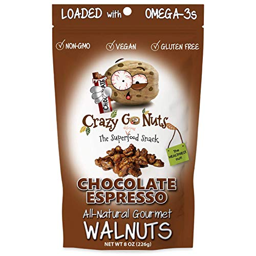 Crazy Go Nuts Walnuts - Chocolate Espresso, 8 oz (1-Pack) - Healthy Snacks, Vegan, Gluten Free, Superfood - Natural, Non-GMO, ALA, Omega-3 Fatty Acids, Good Fats, and Antioxidants
