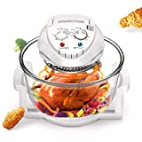 12L Air Fryer Turbo Air Fryer Convection Oven Roaster Electric Cooker Multifunction Oilless Cooker with Automatic Power-off Handle + 360 degrees Rapid Air Frying Technology Tasti Crisp Air Fryer white