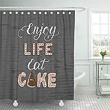 COFEIYISI Duschvorhänge Color Unique Lettering Phrase Genießen Sie das Leben Essen Kuchen für Bäckerei & Cafe Confection Wasserdicht Bad Vorhang Polyester Stoff mit 12 Haken 180x180 cm